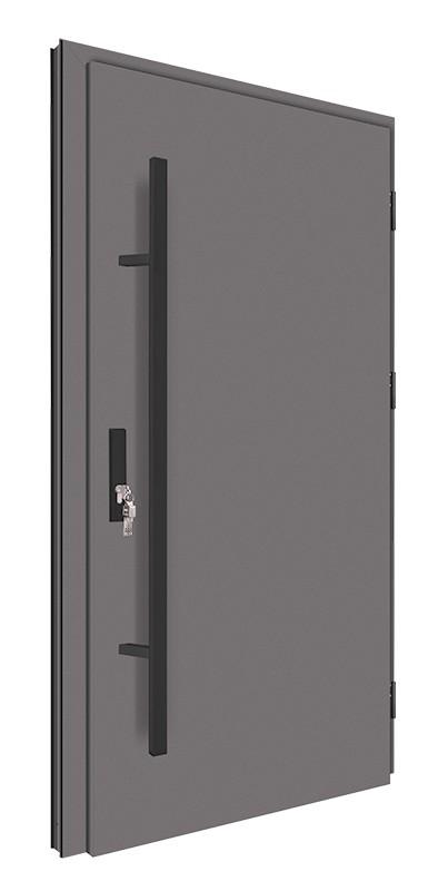 Drzwi zewnętrzne pełne antracyt pochwyt czarny 150 cm 92MK1