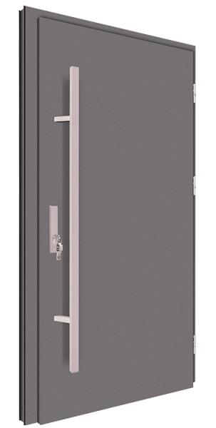 Drzwi zewnętrzne pełne antracyt pochwyt inox 150 cm 92MK1
