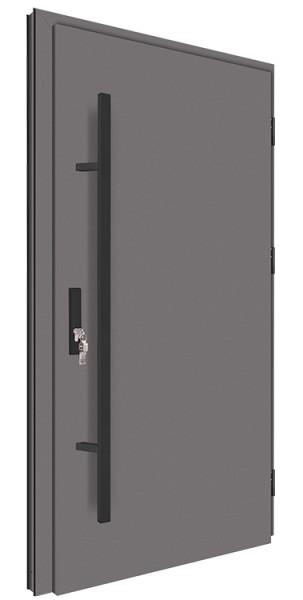 Drzwi wejściowe antracyt z czarnym długim pochwytem 68MK1