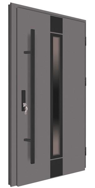 Drzwi wejściowe antracyt pochwyt nero 150 cm 68MK3