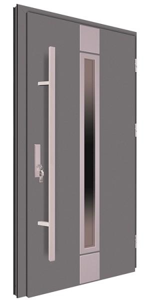 Drzwi wejściowe antracyt pochwyt inox 150 cm 68MK3