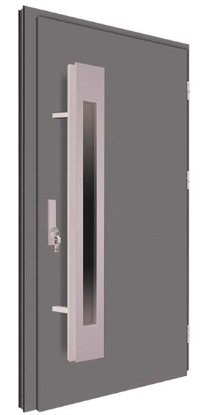 Drzwi wejściowe antracyt pochwyt 150 cm inox 68MK5