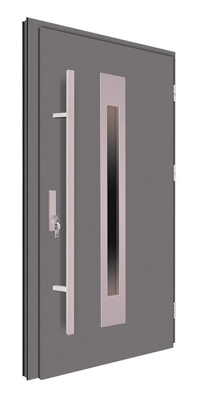 Drzwi zewnętrzne antracyt pochwyt inox 150 cm 92MK6