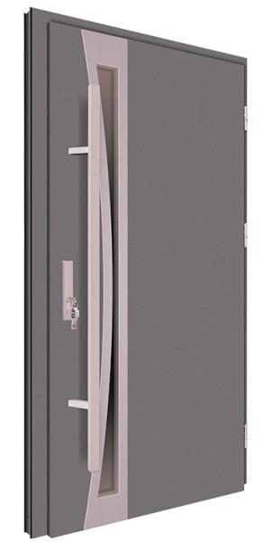 Drzwi wejściowe antracyt pochwyt 150 cm inox 68MK7