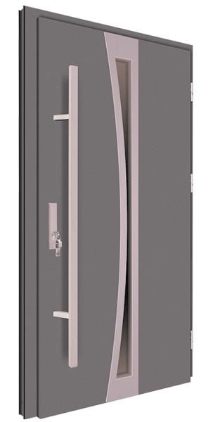 Drzwi wejściowe antracyt pochwyt inox 68MK8