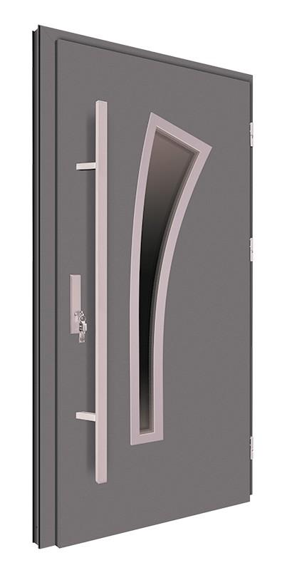Drzwi zewnętrzne antracyt pochwyt 150 cm inox 92MK9
