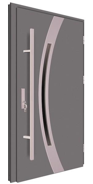 Drzwi wejściowe antracyt pochwyt 150 cm inox 68MK11