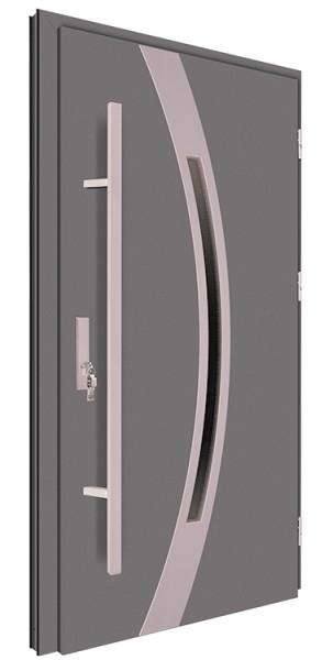 Drzwi wejściowe antracyt pochwyt 150 cm inox 68MK12