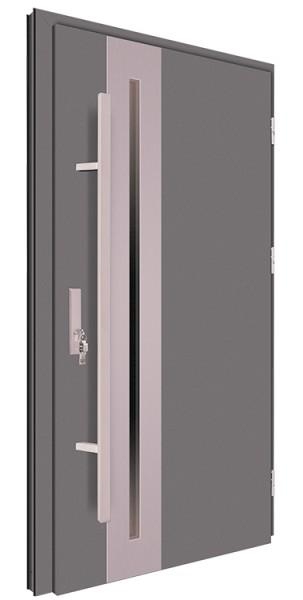 Drzwi wejściowe antracyt pochwyt 150 cm inox 68MK15