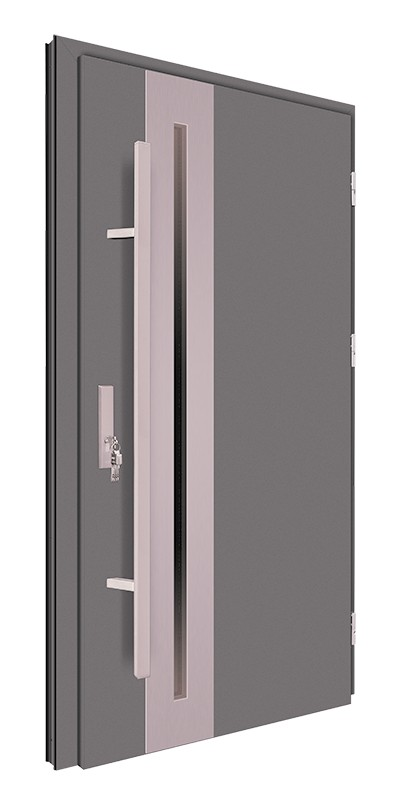 Drzwi zewnętrzne antracyt pochwyt 150 cm inox 92MK15