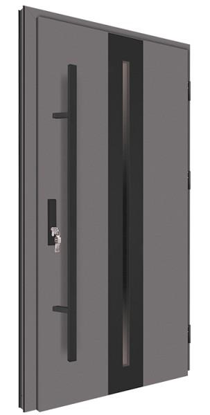 Drzwi wejściowe antracyt pochwyt czarny 150 cm 68MK16