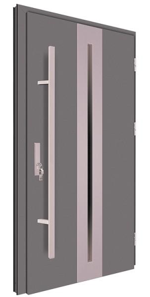 Drzwi wejściowe antracyt pochwyt inox 150 cm 68MK16
