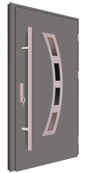 Drzwi zewnętrzne antracyt pochwyt inox 92MK17