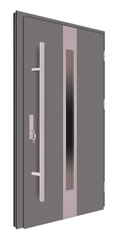 Drzwi wejściowe antracyt pochwyt inox 150 cm 68MK18