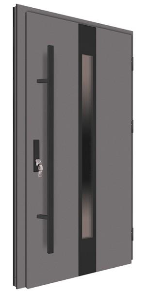 Drzwi wejściowe antracyt pochwyt czarny 150 cm 68MK18