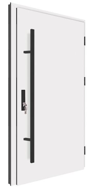 Drzwi zewnętrzne pełne białe czarny pochwyt 92MK1 MK-DOOR