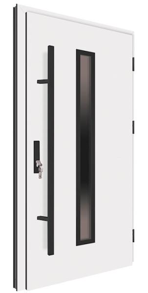 Drzwi zewnętrzne białe pochwyt czarny 150 cm 92MK4 MK-DOOR