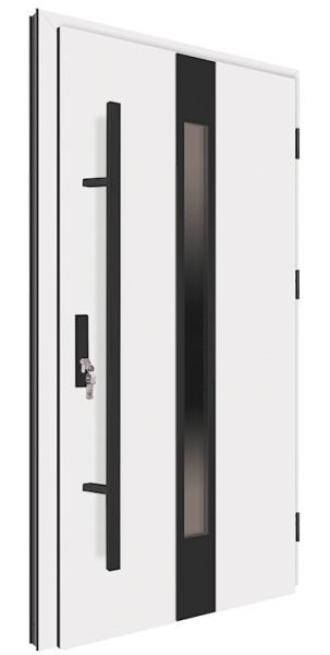 Drzwi zewnętrzne białe pochwyt czarny 150 cm 92MK18 MK-DOOR
