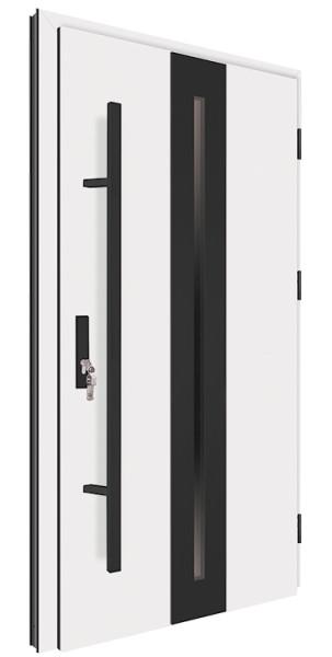 Drzwi zewnętrzne białe pochwyt czarny 150 cm 92MK16 MK-DOOR