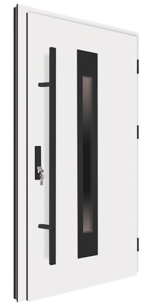 Drzwi zewnętrzne białe pochwyt czarny 150 cm 92MK6 MK-DOOR